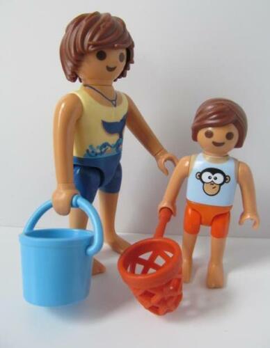 Playmobil Plage/dollshouse/piscine chiffres: Papa & GARÇON AVEC NET & Seau NEUF
