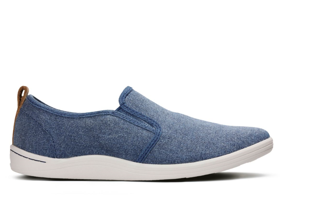 Mens Clarks Mapped Blue Lightweight Canvas Slip Trainer Shoes UK 7/41 RRP
