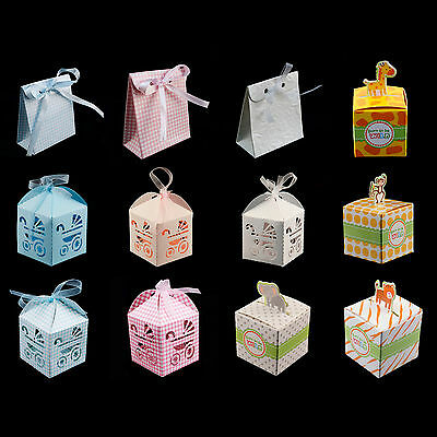 Baby Shower Pattern Gift Candy Bomboniere Boxes Wedding Party Favor Boy Girl NEW