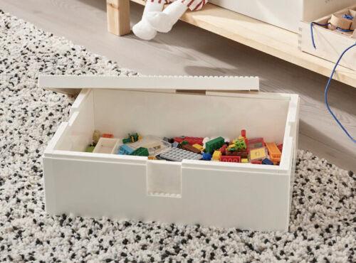 "IKEA BYGGLEK LEGO Storage Box with Lid 13x10x4/"" Large White Limited Release NIB"