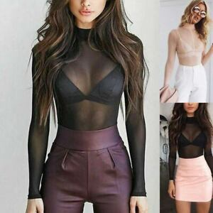Women-Long-Sleeve-Sheer-Mesh-Fish-Net-Turtle-Neck-Crop-Top-Basic-T-Shirt-Blouse