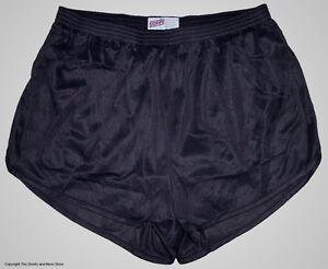 Soffe-Black-Nylon-Ranger-Panties-Silkies-Running-Track-Shorts-Men-039-s-Medium