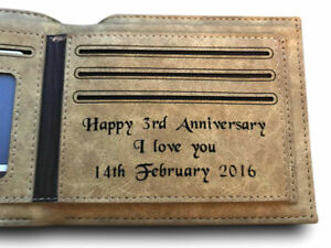 3rd Wedding Anniversary Gift.Details About Personalised Engraved Mens Leather Wallet 3rd Wedding Anniversary Gift Husband