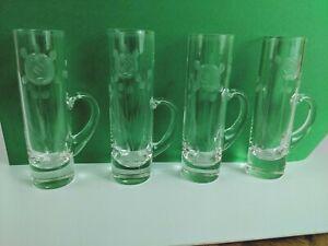 Set-of-4-Vintage-Etched-Glass-Cylinder-Shot-Glasses-Handle-Cordial-Rose-Shooter