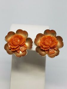 Faux-Coral-Rose-in-Gold-tone-Earrings-Vintage-Screw-On