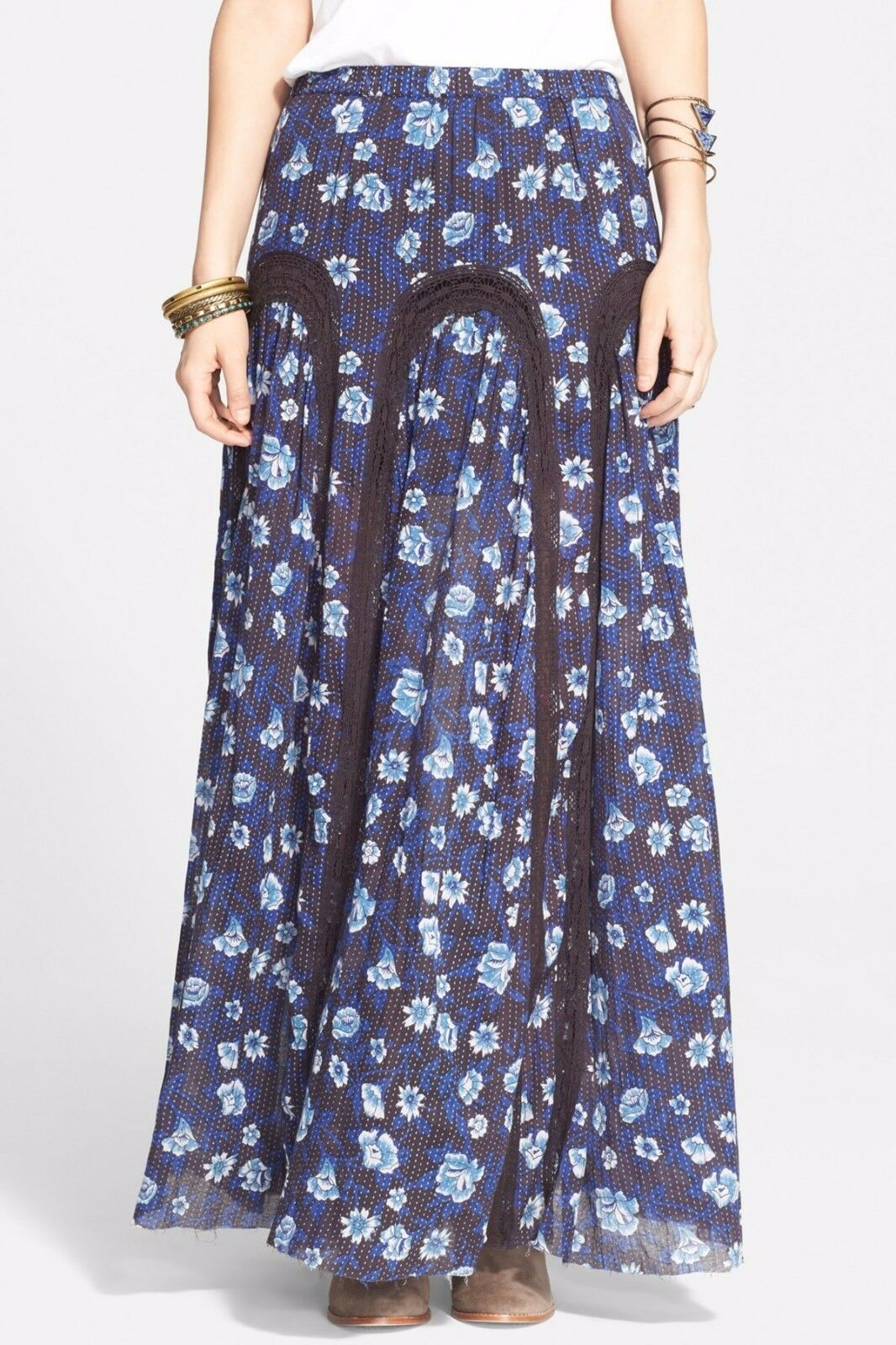 Free People  Zoe  bluee Indigo Combo Floral Cotton Maxi Skirt OB426559 -   148
