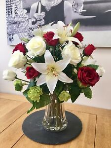 ARTIFICIAL-FLOWERS-ARRANGEMENT-ROSE-LILY-amp-HOP-SPRAY-BOUQUET-IN-VASE-WITH-WATER