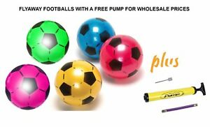 PLASTIC Football Flyaway Deflated FOR KIDS YELLOW BLUE GREEN PINK RED GREEN