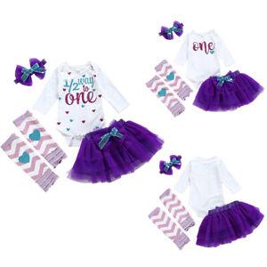 Baby Girls 1st Birthday Bodysuit Vest Outfit Dress Party Cake Smash Photoshoot