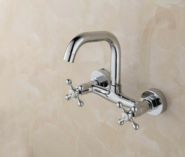 Wall Mounted Chrome Brass Bathroom Sink Faucet Double Handle Hot Cold Mixer Taps