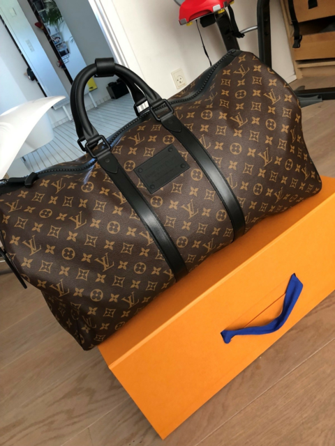 Weekendtaske, Louis Vuitton, Keepall 55 Waterproof Macassar…