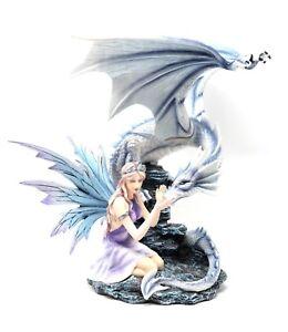 Belia Fata con Drago Bianco Les Alpes 042 467 Statua fantasy Alta qualità Fairy