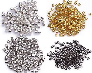 New-500pcs-Golden-Black-Tube-Crimp-End-Beads-2mm-For-Necklace-Accessories