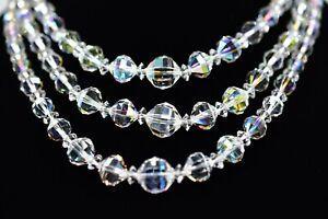 LAGUNA-Signed-Vintage-Necklace-Aurora-Borealis-Crystal-Triple-Layered-Shiny-Bin3