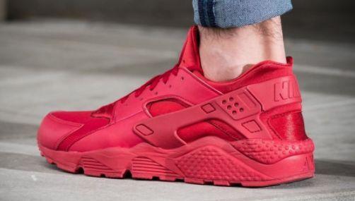 Nike Air Huarache Run Trainer Triple rouge Varsity 318429 660 Homme 100% Authentique