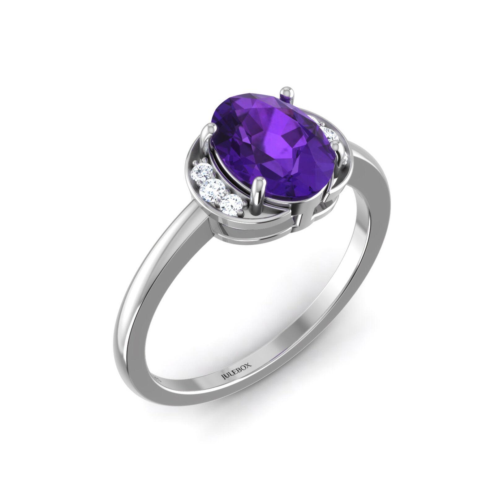 NEW Fashion Jewelry Purple Amethyst Wedding Ring Jewellery Women Ladies Rings UK