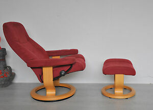 ekornes stressless sessel rot mit hocker relaxsessel ambassador ebay. Black Bedroom Furniture Sets. Home Design Ideas