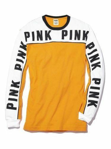 Victoria/'s Secret Pink Campus Colorblock Tee Shirt Golden Glow Yellow Logo S M L