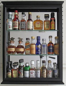 Image Is Loading Solid Wood Mini Liquor Bottle Display Case Cabinet