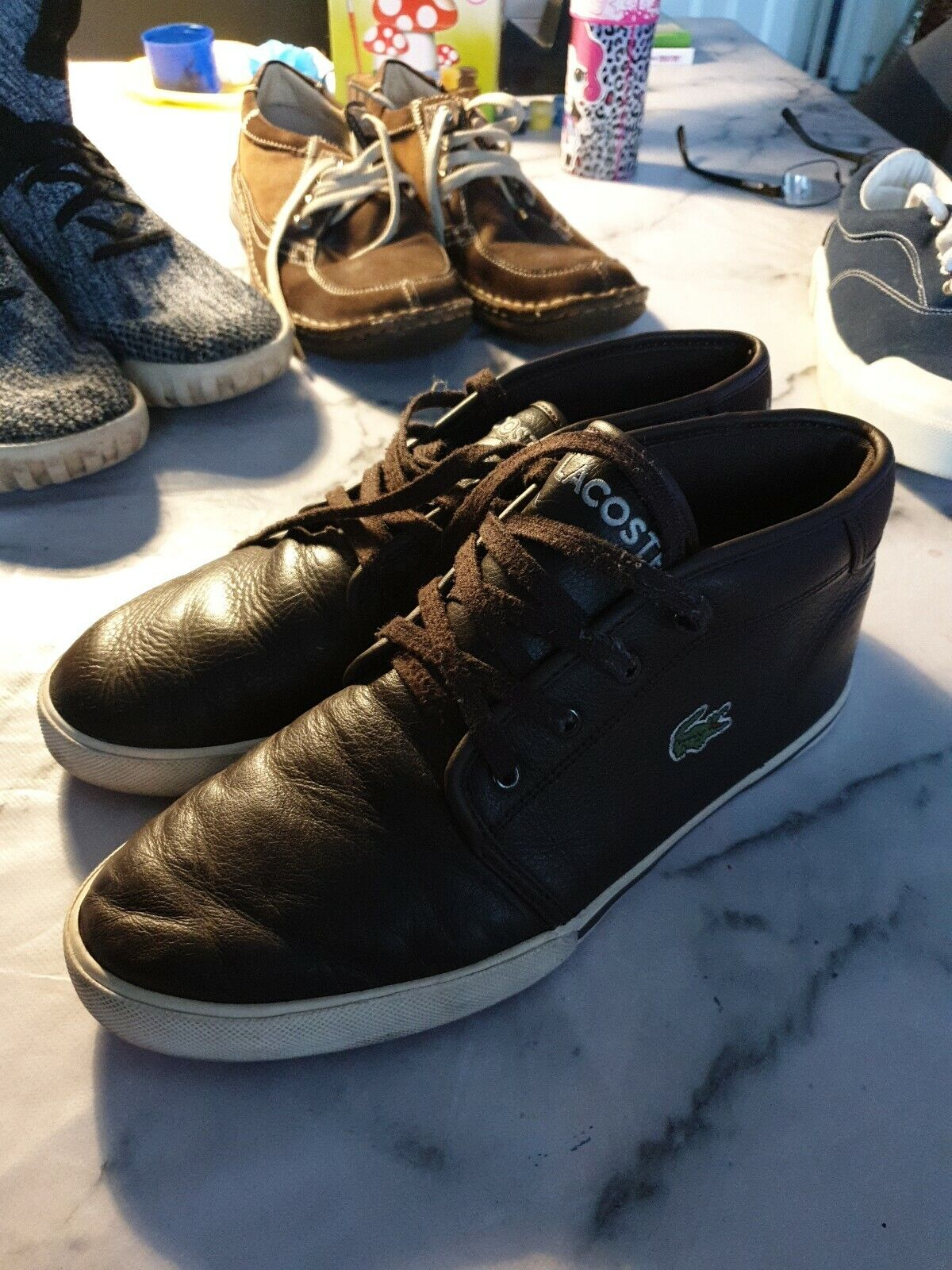 Lacoste Hi top trainer VGC Size 8 Leather