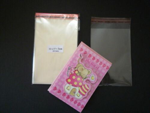 12x17+3cm Kartenhüllen Klarsichthüllen Schutzhüllen glasklar 100 Stück