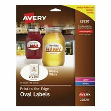 Avery Oval Easy Peel Labels 2 X 3 13 Glossy White 80 Labels Ave22820