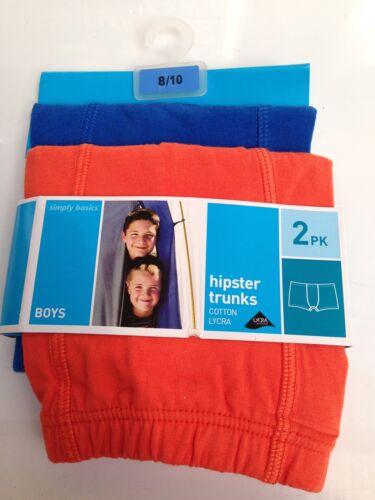 BNWT Boys Sz 8 to 10 Twin Pack Blue//Orange Cotton Lycra Trunks Underpants Boxers