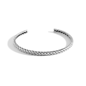 Sterling-Silver-Solid-Vintage-Twisted-Wire-Rope-Torque-Cuff-Bangle-Bracelet