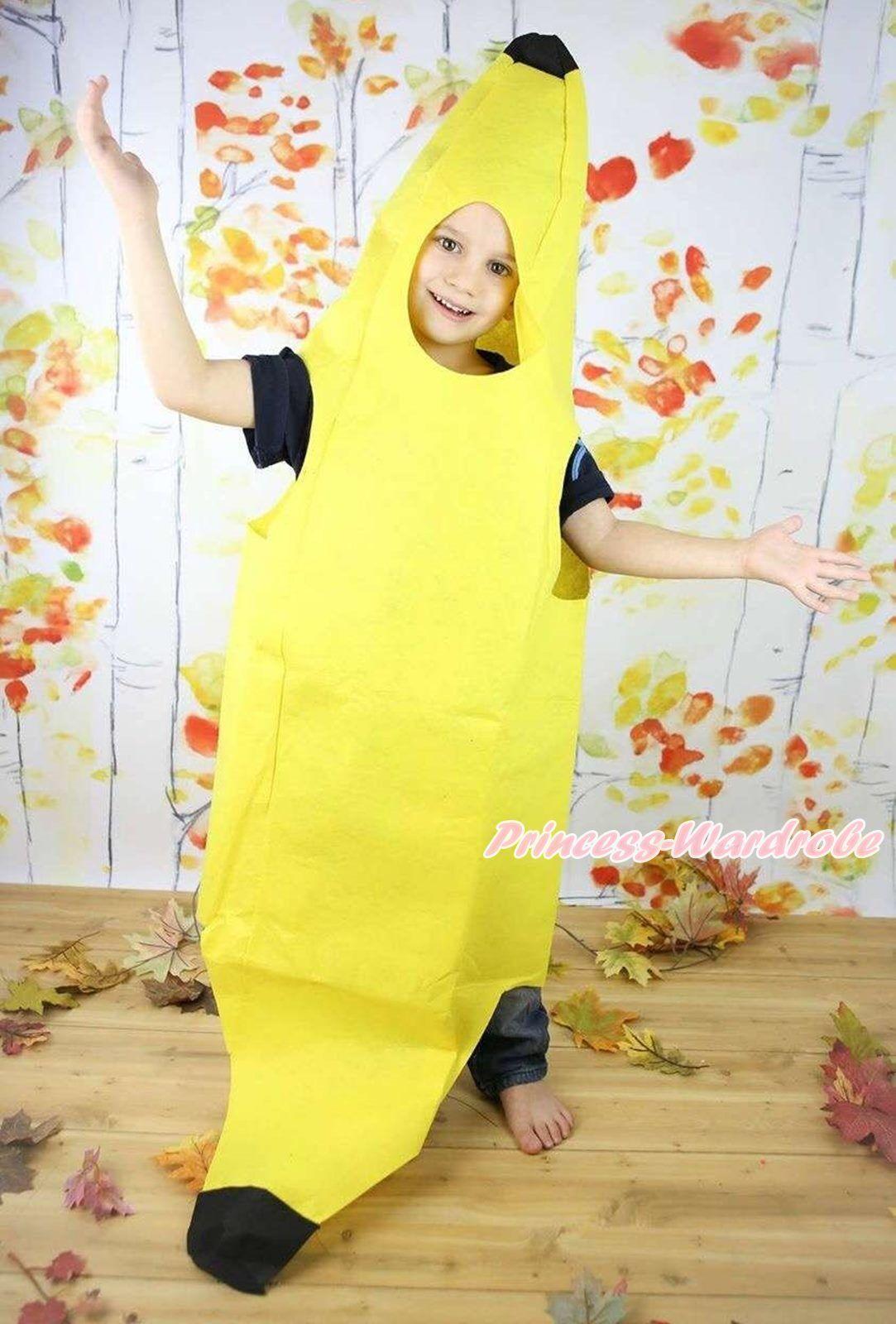 Halloween Party Yellow Fruit Banana Whole One Piece Kids Unisex Costume Prop
