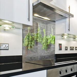 Kuchenruckwand Spritzschutz Kuche Gehartetes Glas Salbei Rosmarin Grau Ebay
