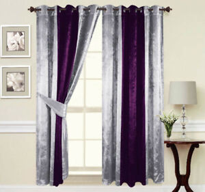 Curtains-Ring-Top-Eyelet-Ready-Made-Lined-thick-crushed-velvet-Purple-Silver