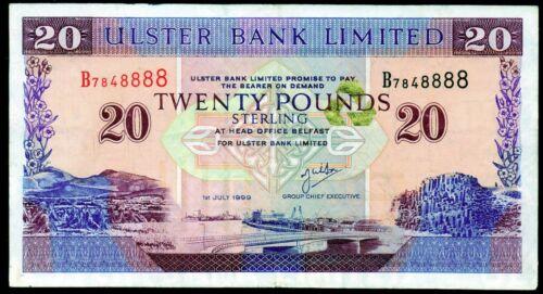 Real Ulster bank Ltd Belfast £20 twenty pound banknote 1990 ERROR 1996 1999