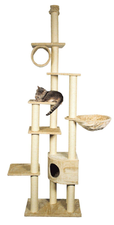 Trixie 43901 Madrid Floor-To-Ceiling Cat Tree, Adjustable, Beige