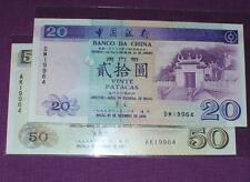Macau Bank Of China 1997 50 Patacas 1999 20 Patacas (UNC) Same Number 19964 Rare