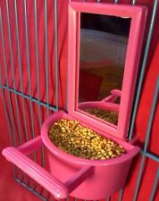 Pájaro Espejo & semilla Agua alimentador Percha De Juguete Para Aves Budgie Canarias cacatúa Finch
