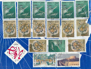 CHINA-Stamps-Collection-Large-Dealer-Lot-Used-Postmarked-Mounted-Glued-CHINESE