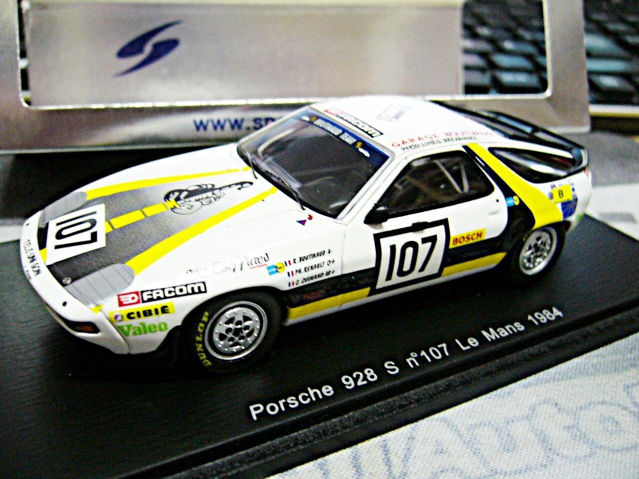 PORSCHE 928 S v8 RACING LE MANS 1984  107 boutinaud RENAULT Spark Resin 1 43