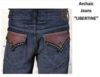 Archaic Jeans By Affliction libertine Brown Leather Flap 30 & 33