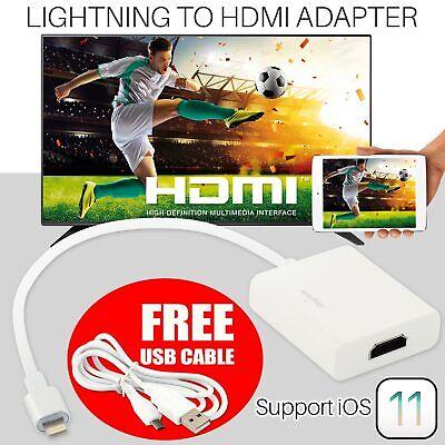 8 Pin Lightning A Hdmi Tv Av Cavo Adattatore Per Ipad Iphone 6s 7 Plus 8 X Ios11-mostra Il Titolo Originale