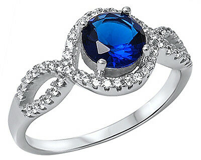 New Sterling Silver Round Blue Sapphire Halo CZ Twist Ring