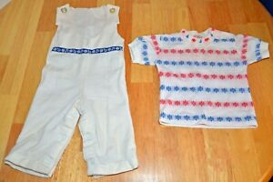 Vintage-Health-Tex-Child-039-s-Overall-amp-Shirt-Set-Nautical-Boat-Theme-6-Months-GUC