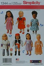 """Simplicity 1344 Sewing PATTERN fits 18"""" American Girl DOLL CLOTHES w/ 7 Outfits"""