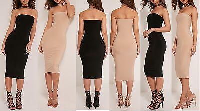 NEW LADIES WOMENS DRITA BANDEAU SLINKY BODYCON DRESS SIZE 6,8,10,12,14