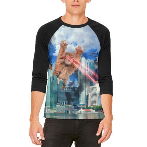 Giant Cat Laser Rampage and Destroy Mens Raglan T Shirt
