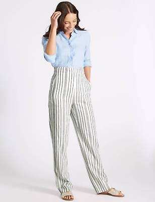 New Womens Marks /& Spencer White Linen Trousers Size 14 Short 8 Medium
