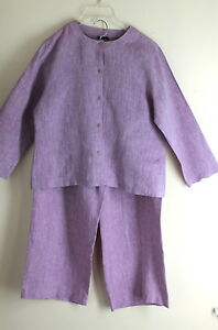 Eileen-Fisher-Lilac-Linen-Lovely-Blouse-Top-Japanese-Trouser-Pants-Outfit-S-M