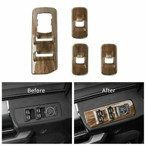 Wood Grain Window Lift Panel Switch Covers Trim for 15-18 Ford F150 Accessories