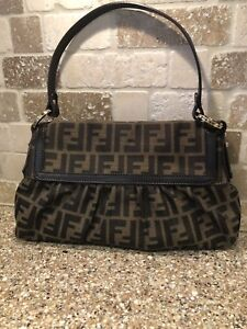 4bb5425d2b Image is loading FENDI-Brown-Monogram-Canvas-Zucca-Chef-Shoulder-Handbag-