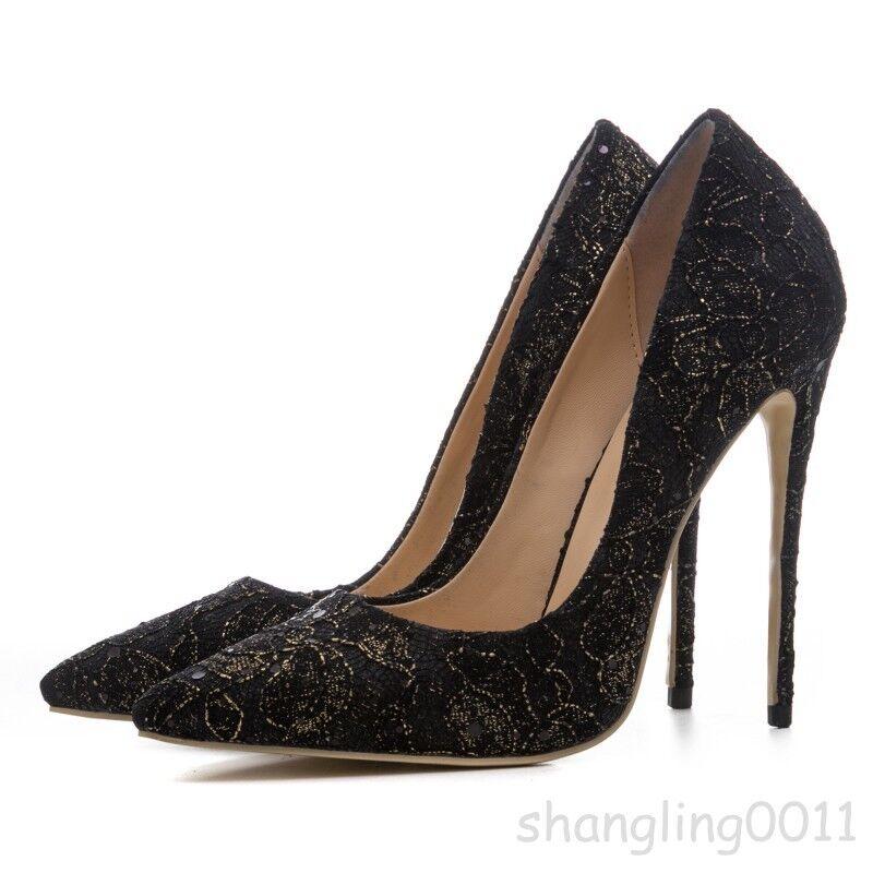 risposte rapide donna Ladies Ladies Ladies Stiletto Pointy Toe Floral Slip On scarpe Pumps High Heels Sequins  tutto in alta qualità e prezzo basso