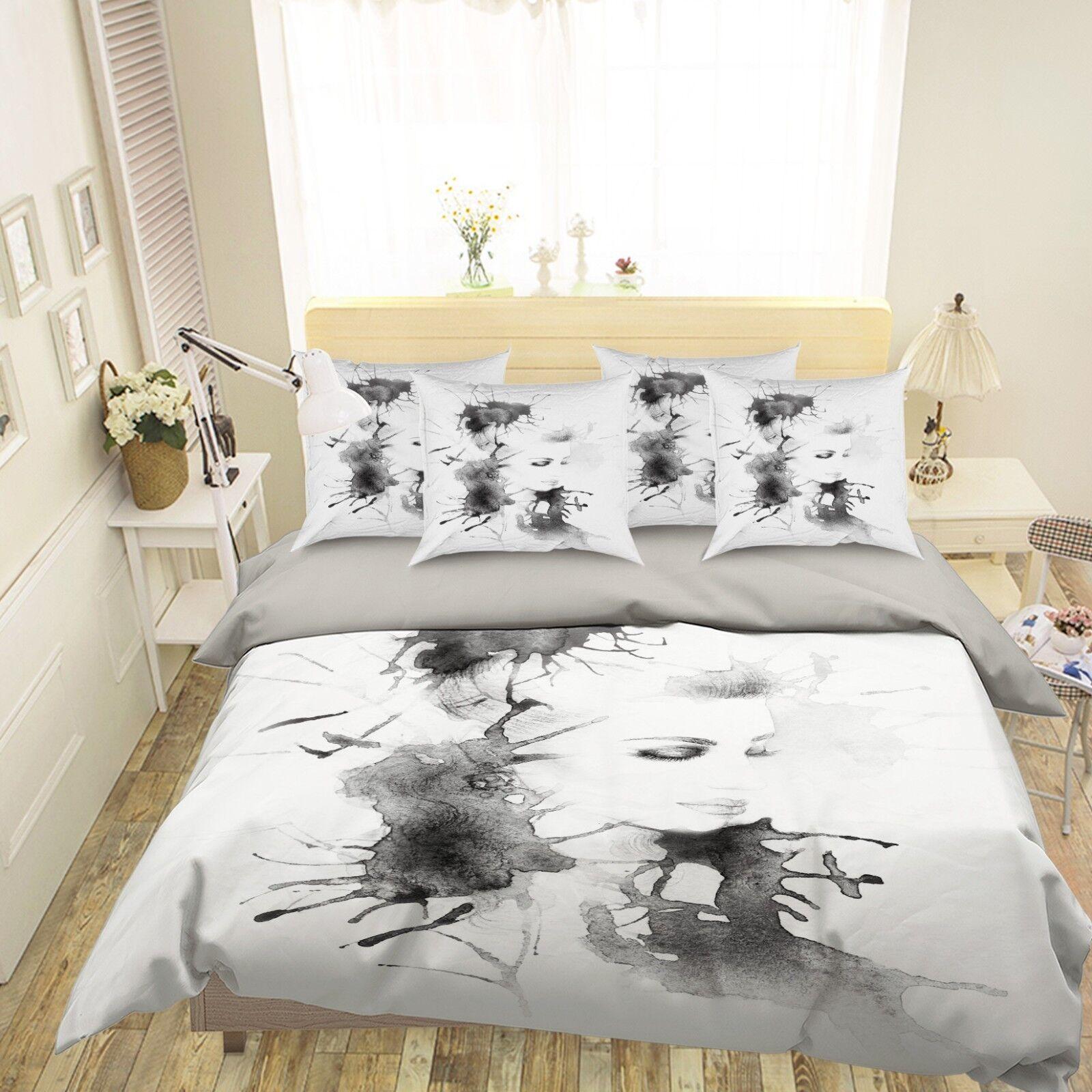 3D Ink Beauty 4 Bed Pillowcases Quilt Duvet Cover Set Single Queen King AU Cobb